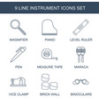 9 instrument icons vector image vector image