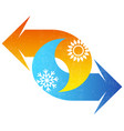 air conditioning symbol red and blue arrow vector image vector image