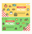 autumn and summer picnic banner horizontal set vector image vector image