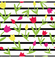beautiful colorful flower tulips stripes pattern vector image