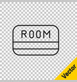 black line hotel key card from room icon vector image vector image
