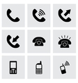 black telephone icon set vector image vector image