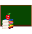 Blackboard and stack of books vector image vector image
