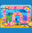 boardgame template with dolphins swimming vector image