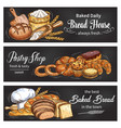 bread and bun banner for bakery shop template vector image