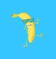 cartoon character cool funny yellow banana vector image vector image