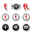 Chili peppers hot and spicy food icons set vector image vector image