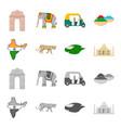 country india cartoonmonochrome icons in set vector image