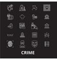 crime editable line icons set on black vector image vector image