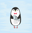 cute hand drawn penguin vector image vector image