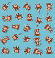 cute monkeys pattern background vector image vector image