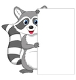 Cute raccoon cartoon holding blank sign vector image vector image