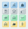 delivery icons set collection of sailboat vector image vector image