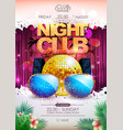 disco background disco ball summer party poster vector image vector image