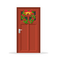 door with christmas wreath vector image