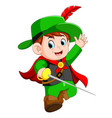 funny musketeer with sword vector image