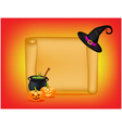 halloween banner card with empty paper scroll and vector image