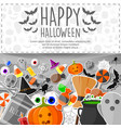 halloween banner with flat stickers background vector image vector image