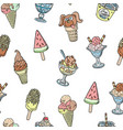 hand-drawn ice cream doodles seamless vector image
