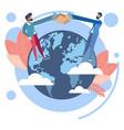 handshake on earth globe vector image