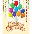 happy birthday text balloons ribbons pastel vector image