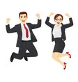 happy business man and woman vector image vector image