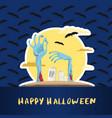 happy halloween poster with monster hands vector image vector image