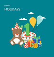 happy holidays flat style design vector image