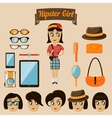 Hipster character elements for nerd woman vector image vector image