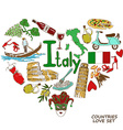 Italian symbols in heart shape concept vector image vector image