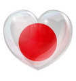 japan flag love heart vector image vector image