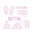 Knitting Related Object Collection With Text vector image