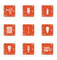 light device icons set grunge style vector image vector image