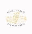local grapes french wines vineyard retro badge or vector image