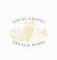 local grapes french wines vineyard retro badge vector image