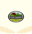 logo company vintage eco farm oval shape vector image vector image