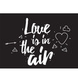 Love is in the air inscription Greeting card with vector image vector image