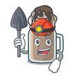miner milkshake mascot cartoon style vector image vector image