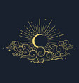 moon and clouds at midnight drawn in oriental vector image vector image