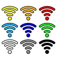 multi color wifi wireless hotspot internet signal vector image
