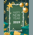 new year postcard template with frame decorated by vector image vector image