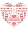 Nordic pattern in heart shape with reindeer tree vector image vector image
