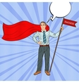 Pop Art Super Businessman with Success Flag vector image