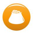 purse money icon orange vector image vector image