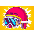 red fashion helmet on yellow background vector image