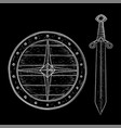 round shield and sword hand drawn sketch vector image