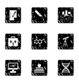 Science education icons set grunge style vector image vector image