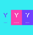 set letter y minimal logo icon design template vector image