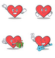 set of heart character with successful smirking vector image vector image