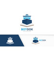 ship and open book logo combination boat vector image vector image